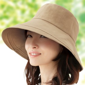 ベルーナ 綿100%のUVつば広帽子 ブラック 1 レディース