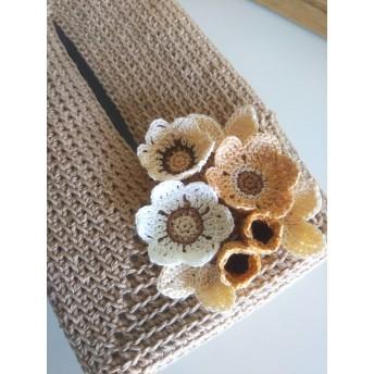 ベージュのお花たち:ティッシュカバー