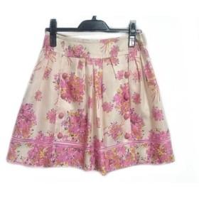 【中古】 チェスティ Chesty ミニスカート サイズ0 XS レディース アイボリー ピンク マルチ 花柄