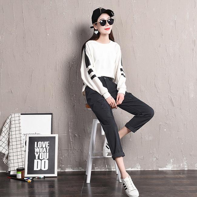 FOFU-牛仔褲氣質百搭寬鬆高腰破洞九分哈倫牛仔褲【08G-G1021】