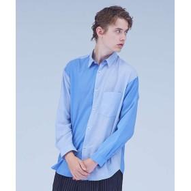 【30%OFF】 アバハウス パッチワークレギュラーオーバーシャツ メンズ ブルー M 【ABAHOUSE】 【セール開催中】