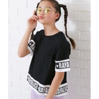 切替ロゴワイドTシャツ(女の子 子供服。ジュニア服) Tシャツ・カットソー