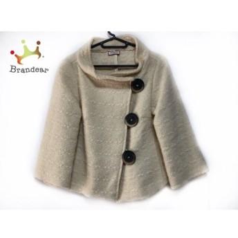 マックス&コー コート サイズ4 XL レディース 美品 アイボリー×ダークブラウン ショート丈/冬物 新着 20190402