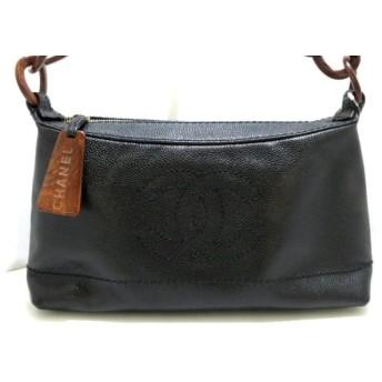 【中古】 シャネル ハンドバッグ 美品 キャビアスキン A18232 黒 プラスチックチェーン キャビアスキン