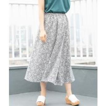 フラワープリントアシンメトリータックロングスカート【お取り寄せ商品】