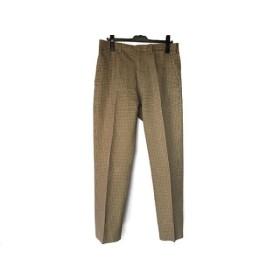 【中古】 エトロ パンツ サイズ48 M メンズ 美品 ベージュ ダークブラウン ライトブルー チェック柄