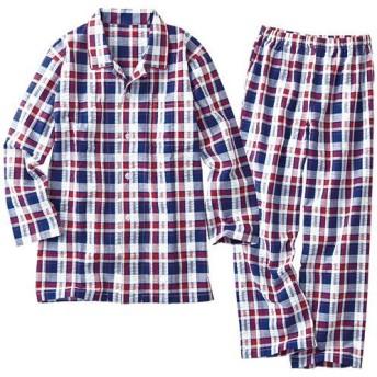30%OFF【レディース】 爽やか長袖シャツパジャマ(メンズサイズ・綿100%・チェック柄) ■カラー:レッド系 ■サイズ:3L,5L