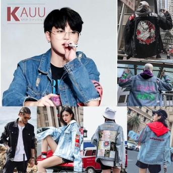 国内発送/新品韓国ファションBTS/EXO/BIGBANG秋スタイルジーンズジャケット/デニムジャケット デニムコート デニムアウター 原宿風