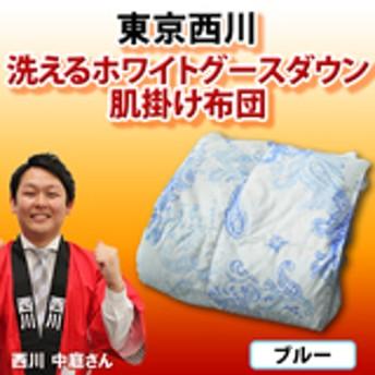 東京西川 洗えるホワイトグースダウン肌掛け布団 【ブルー系】