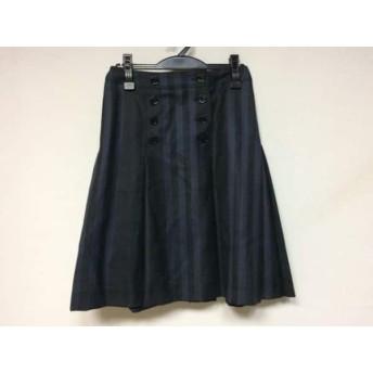 【中古】 バーバリーロンドン スカート サイズ36 M レディース 黒 ネイビー ダークグリーン