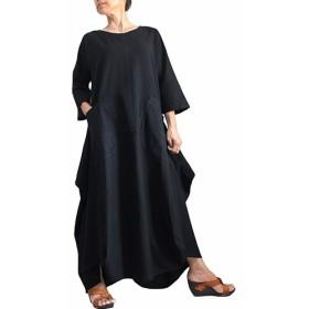 ジョムトン手織綿デザインロングドレス 黒(DRL-012-01)