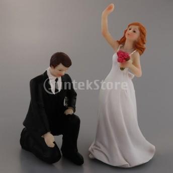 ノベルティウエディングケーキトッパーランアウェイスタイル樹脂新郎新婦人形ケーキの装飾