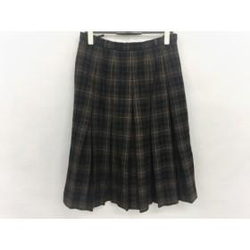 【中古】 レリアン Leilian スカート サイズ13 L レディース ダークブラウン マルチ チェック柄