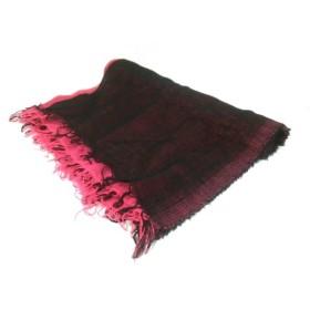 【中古】 フルラ FURLA ストール(ショール) 美品 黒 ピンク ウール コットン