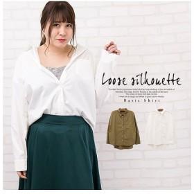 クレット(大きいサイズ) ゆるシルエットベーシックシャツ レディース カーキ 3L 【clette】