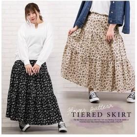 クレット(大きいサイズ) 花柄ティアードスカート レディース ブラック 3L 【clette】