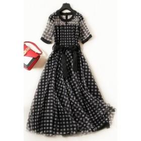 【L~5XL】 大きいサイズ 春服 レディース カジュアル ドレス メッシュ スカート 3l 4l