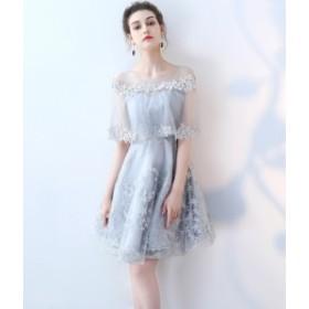 ドレス レース ひざ丈 袖あり 20代 30代 ブルー 青 春夏 清楚 ブライズメイド シースルー 結婚式 パーティー 大きいサイズ 花刺繍