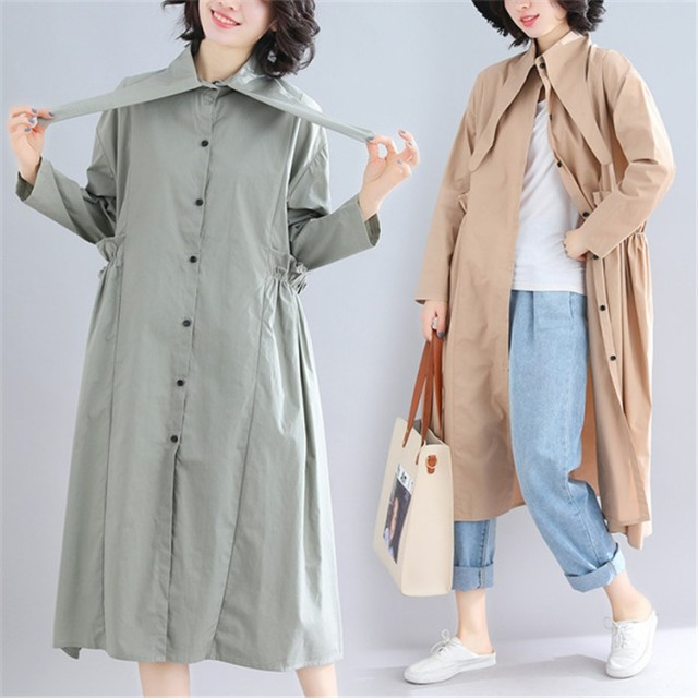 2019春 欧米風レディース 韓国ファッション 春 新着 レトロ ウインドブレーカー コート ドレス