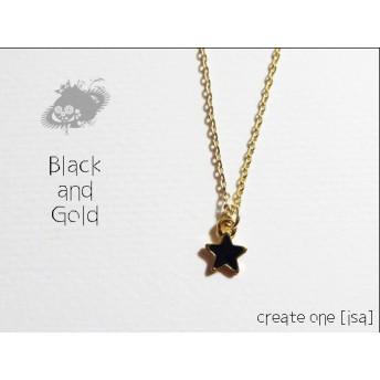 [ネックレス]Black and Gold;Star