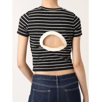【40%OFF】 ジェイダ BACK OPENショートボーダーTシャツ レディース ブラック F 【GYDA】 【セール開催中】