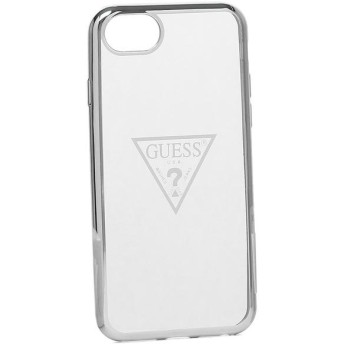 ゲス iphoneケース GUESS GUHCI8TRTL SIL GUESS TRIANGLE LOGO TRANSPARENT TPU CASE SILVER iPhone 6/7/8 トライアングルロゴ SILVER 銀 【お取り寄せ商品】