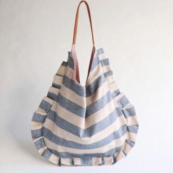 stripe frill bag (ecru & blue)