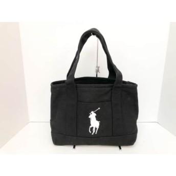 【中古】 ポロラルフローレン POLObyRalphLauren トートバッグ 黒 白 キャンバス
