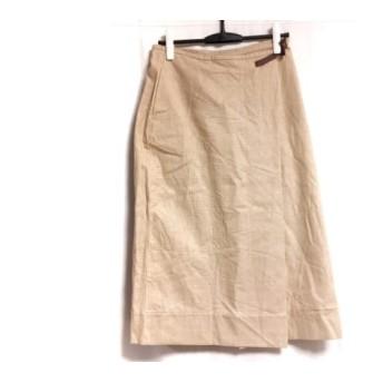 【中古】 プリスティン pristine ロングスカート サイズM レディース ベージュ 白 千鳥格子