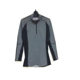 【中古】 アンダーアーマー 長袖Tシャツ サイズMD レディース ダークグレー 黒 ボーダー/タートルネック