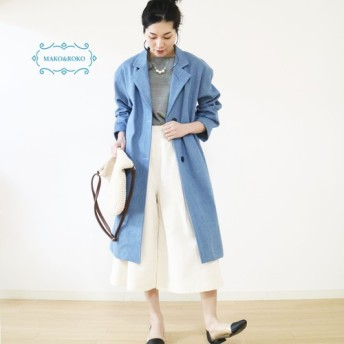New【ストレッチデニム】柔らか綿100%ゆったりロングコート☆