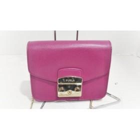 【中古】 フルラ FURLA ショルダーバッグ 美品 メトロポリス ピンク チェーンショルダー レザー