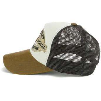 キャップ - Smart Hat Factry <春夏新作>Cレザーツバワッペンメッシュキャップ ヤング 帽子