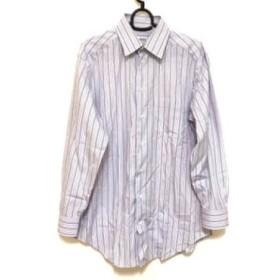 【中古】 アルマーニコレッツォーニ 長袖シャツ サイズ39 メンズ パープル 白 ストライプ