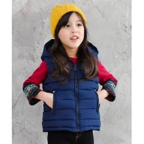 【61%OFF】 子供服ビー ダウン風 ベスト レディース ベスト×ネイビー 120cm 【子供服Bee】 【セール開催中】