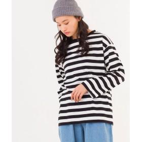 Tシャツ - WEGO【WOMEN】 ボーダービッグシルエットロングTシャツ BR18SP02-L007