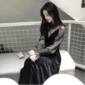 韓国ファッション レース パーティードレス 結婚式 ドレス お呼ばれドレス フォーマル ワンピース マキシ ワンピース/ロングワンピース