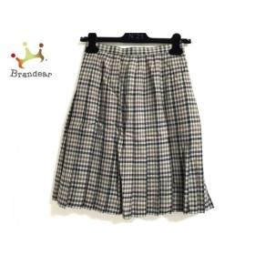 レリアン スカート サイズ9 M レディース 美品 ベージュ×ダークグリーン×マルチ チェック柄     スペシャル特価 20190731