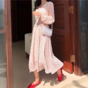 シャーリングウエストでスタイルアップ!花柄Vネック長袖ロングスカートドレスワンピース(3色展開)