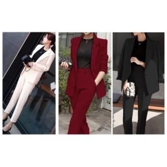 韓国 ファッション レディース セットアップ パンツスーツ ワイドパンツ 2点セット 上下 ジャケット レディース 春夏 パンツスーツ 長袖