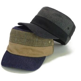 キャップ - Smart Hat Factry <秋冬新作>デニムウールコンビレイルワークキャップ ヤング 帽子