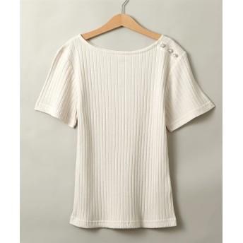 肩パール調ボタン付ボートネック半袖リブトップス (Tシャツ・カットソー)(レディース)T-shirts