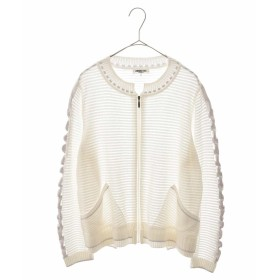 HIROKO BIS GRANDE 【洗える/日本製】デザインニットジャケット その他 フォーマル,ホワイト