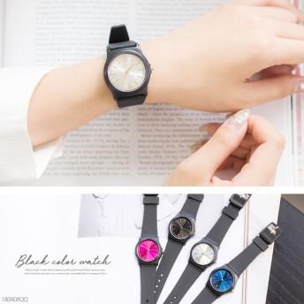 ブラックカラ-ウォッチ腕時計0810【5,400円以上送料&代引き手数料無料】
