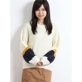 ニット・セーター - TAKA-Q フェザー配色寄せ畦長袖プルオーバーニット