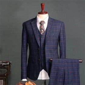 ビジネススーツメンズ3ピーススーツスリーピーススーツセットアップチェック柄紳士スリム2つボタン細身入学式結婚式二次会就職
