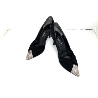 【中古】 ダイアナ DIANA パンプス レディース 黒 スエード レザー