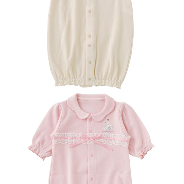 2b23d2e04743b ベビーウェア - chuckleBABY スウィートガールスワン刺繍リボン新生児ツーウェイオール新生児 服 ベビー服 赤ちゃん