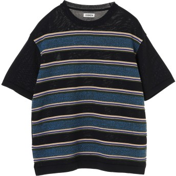 COOHEM MEN SPORTY SUMMER KNIT BORDER P/O ニット,ネイビー