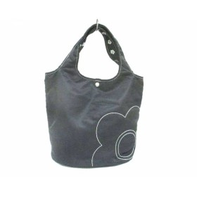 【中古】 マリークワント MARY QUANT トートバッグ 美品 黒 白 刺繍 ナイロン